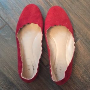 Chloe scalloped red shoes size 37 preowned